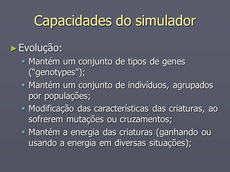 Capacidades do simulador Evolução: Evolução: Mantém um conjunto de tipos de genes (genotypes); Mantém um conjunto de tipos de genes (genotypes); Manté