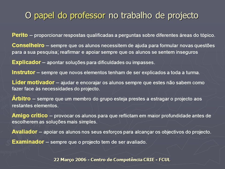 O papel do professor no trabalho de projecto Perito – proporcionar respostas qualificadas a perguntas sobre diferentes áreas do tópico.