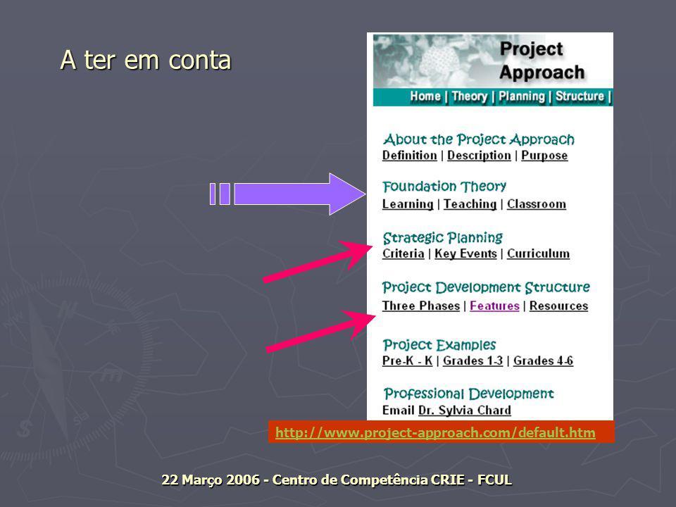 http://www.project-approach.com/default.htm 22 Março 2006 - Centro de Competência CRIE - FCUL A ter em conta A ter em conta