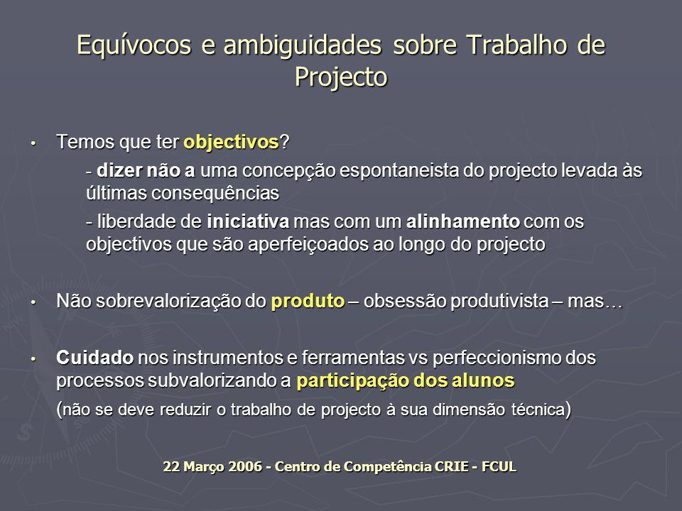 Equívocos e ambiguidades sobre Trabalho de Projecto Temos que ter objectivos.