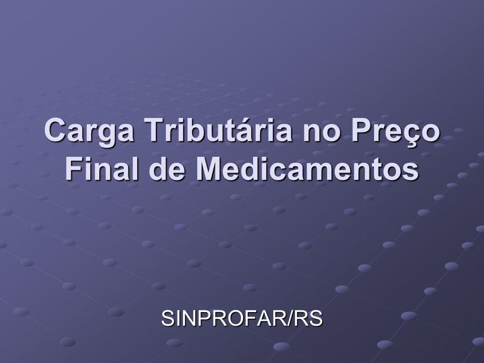 Carga Tributária no Preço Final de Medicamentos SINPROFAR/RS