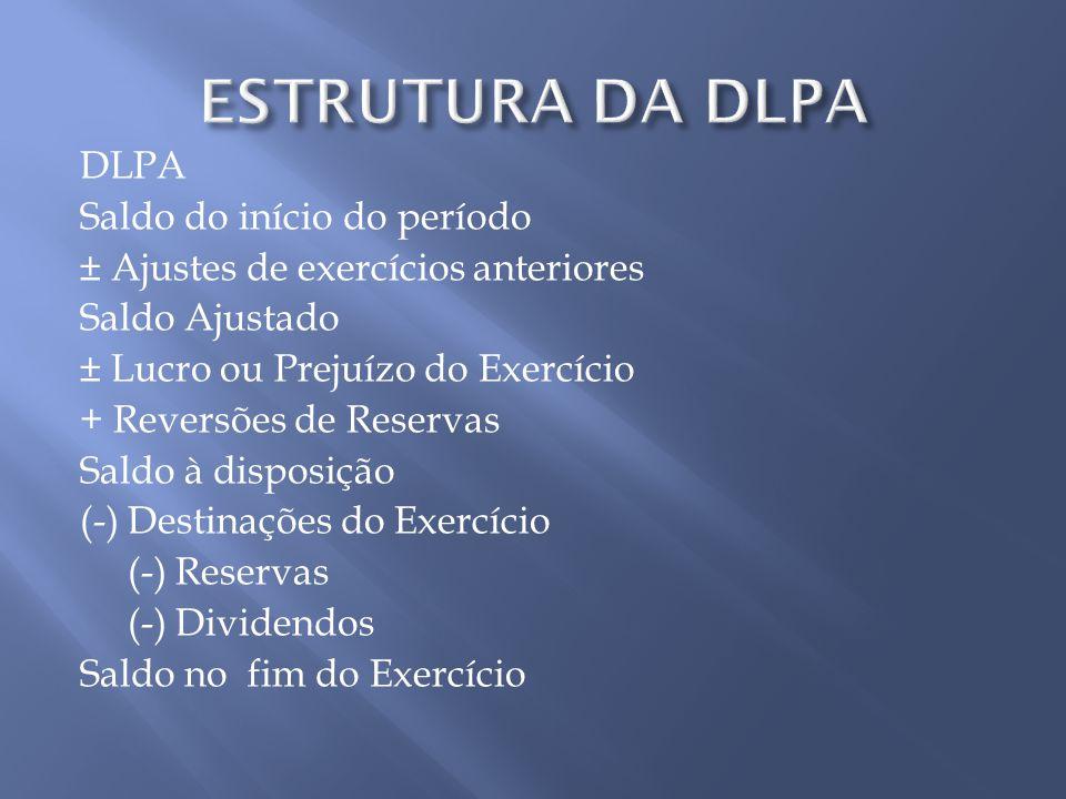DLPA Saldo do início do período ± Ajustes de exercícios anteriores Saldo Ajustado ± Lucro ou Prejuízo do Exercício + Reversões de Reservas Saldo à dis