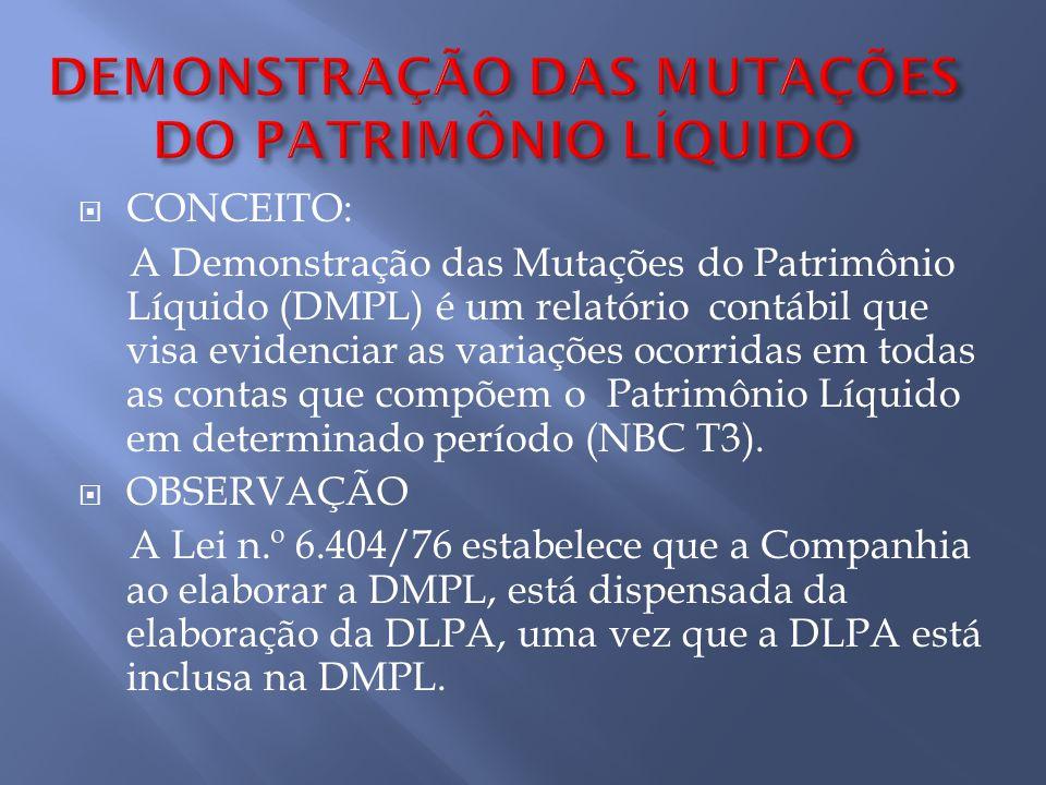 CONCEITO: A Demonstração das Mutações do Patrimônio Líquido (DMPL) é um relatório contábil que visa evidenciar as variações ocorridas em todas as cont