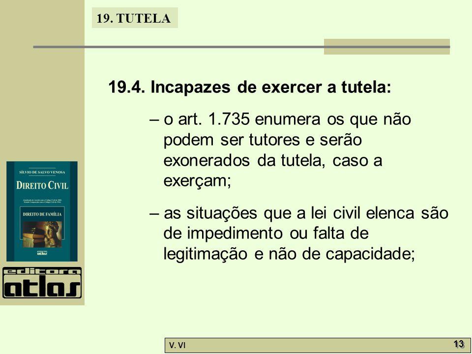 19.TUTELA V. VI 13 19.4. Incapazes de exercer a tutela: – o art.