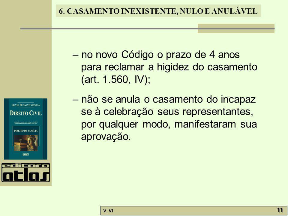 6. CASAMENTO INEXISTENTE, NULO E ANULÁVEL V. VI 11 – no novo Código o prazo de 4 anos para reclamar a higidez do casamento (art. 1.560, IV); – não se