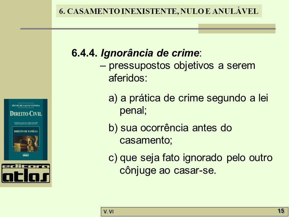 6. CASAMENTO INEXISTENTE, NULO E ANULÁVEL V. VI 15 6.4.4. Ignorância de crime: – pressupostos objetivos a serem aferidos: a) a prática de crime segund