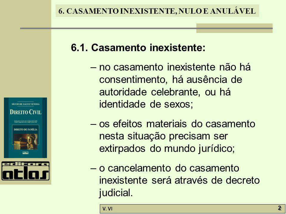 6. CASAMENTO INEXISTENTE, NULO E ANULÁVEL V. VI 2 2 6.1. Casamento inexistente: – no casamento inexistente não há consentimento, há ausência de autori