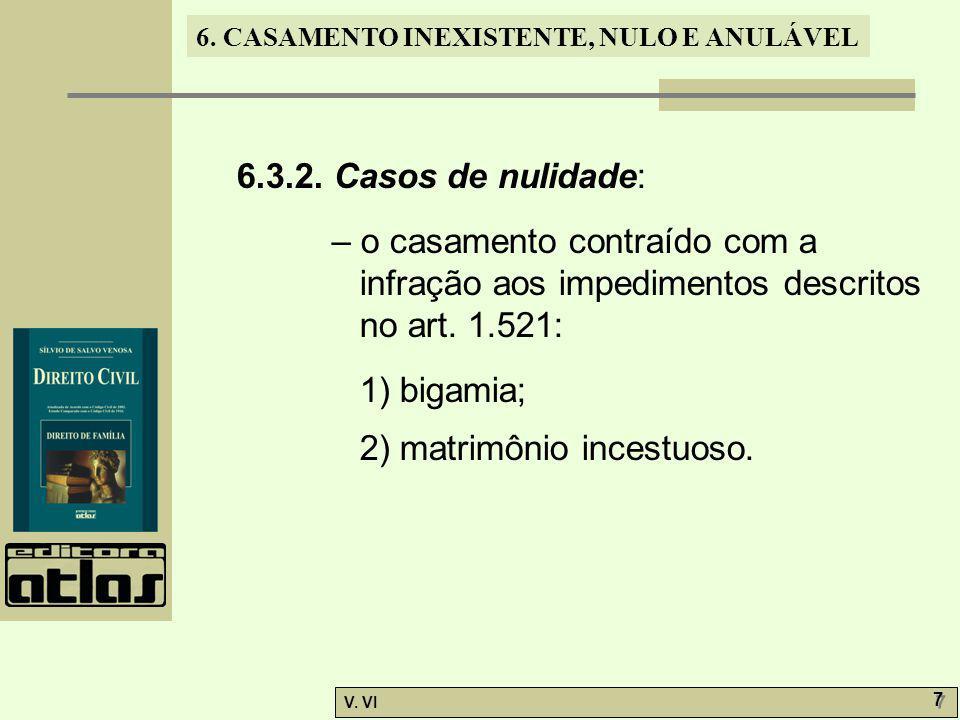 6. CASAMENTO INEXISTENTE, NULO E ANULÁVEL V. VI 7 7 6.3.2. Casos de nulidade: – o casamento contraído com a infração aos impedimentos descritos no art