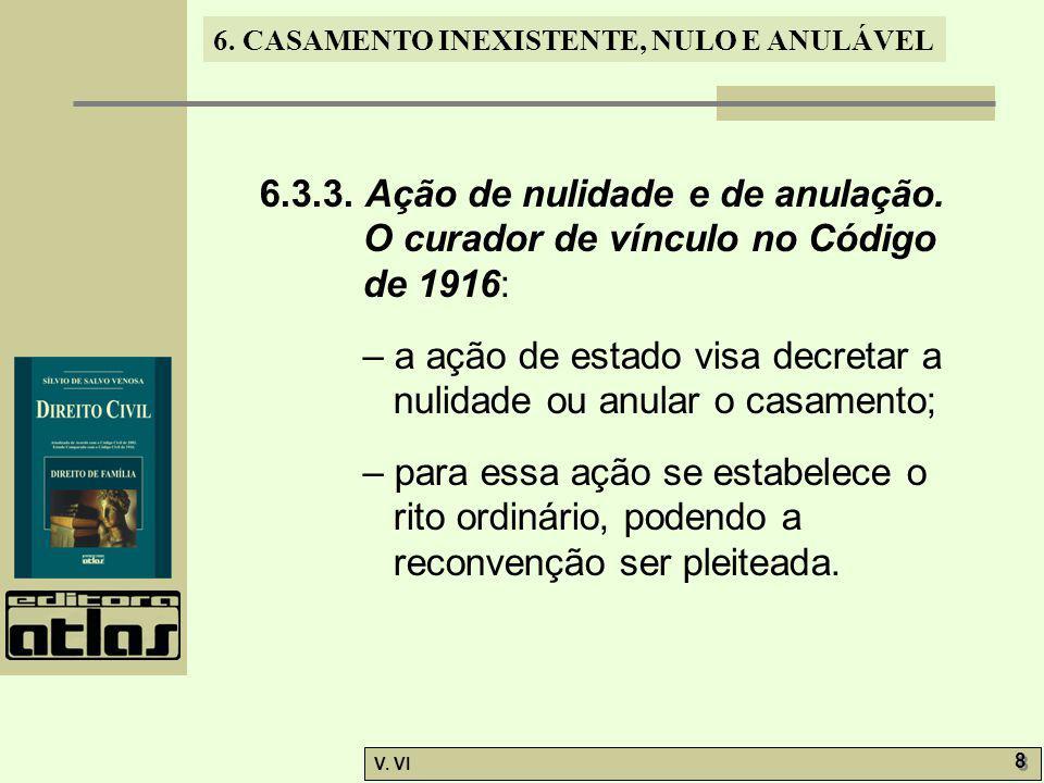 6.CASAMENTO INEXISTENTE, NULO E ANULÁVEL V. VI 9 9 6.4.