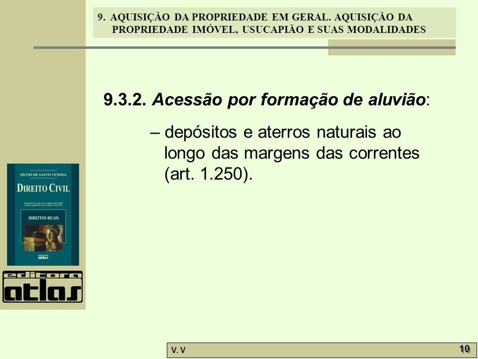 9. AQUISIÇÃO DA PROPRIEDADE EM GERAL. AQUISIÇÃO DA PROPRIEDADE IMÓVEL, USUCAPIÃO E SUAS MODALIDADES V. V 10 9.3.2. Acessão por formação de aluvião: –