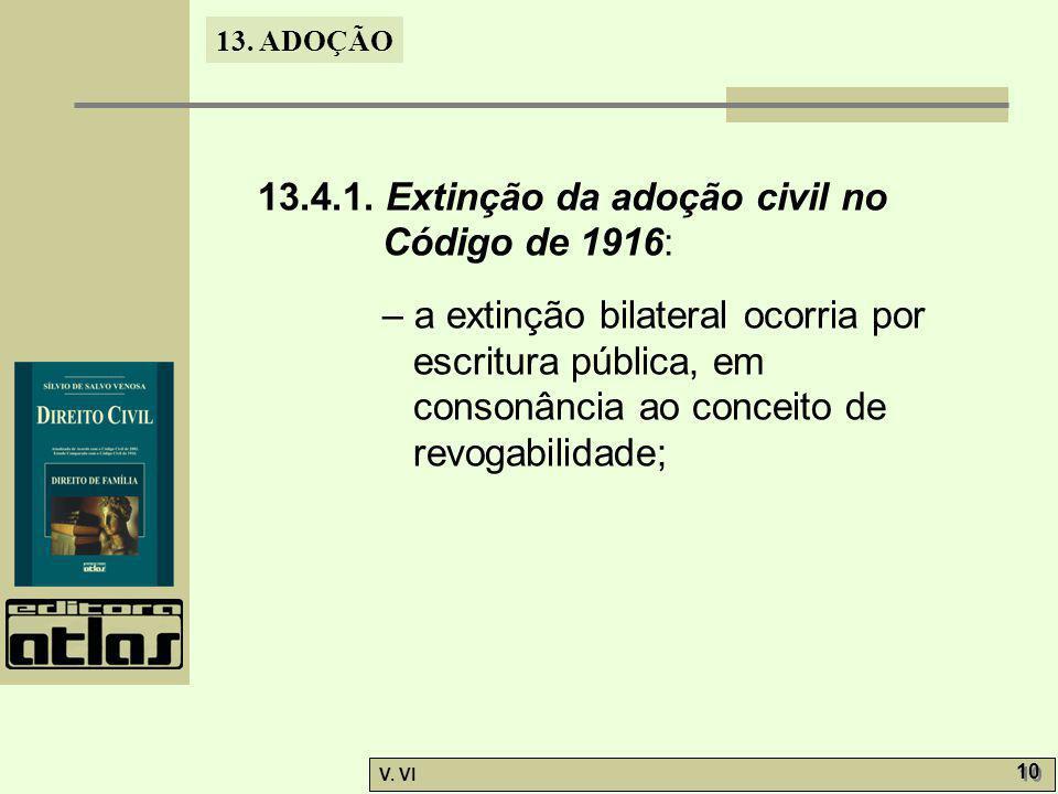 13. ADOÇÃO V. VI 10 13.4.1. Extinção da adoção civil no Código de 1916: – a extinção bilateral ocorria por escritura pública, em consonância ao concei