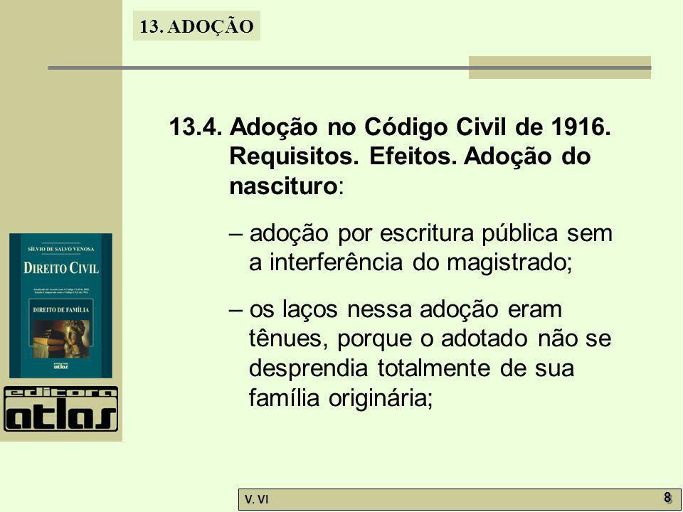13. ADOÇÃO V. VI 8 8 13.4. Adoção no Código Civil de 1916. Requisitos. Efeitos. Adoção do nascituro: – adoção por escritura pública sem a interferênci