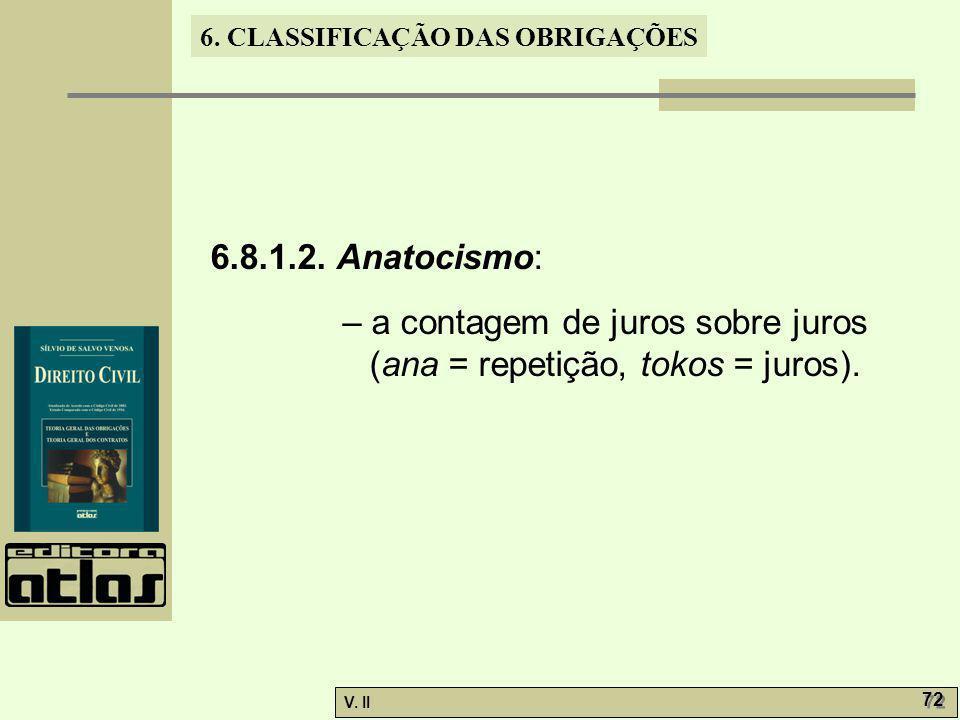 V. II 72 6. CLASSIFICAÇÃO DAS OBRIGAÇÕES 6.8.1.2. Anatocismo: – a contagem de juros sobre juros (ana = repetição, tokos = juros).