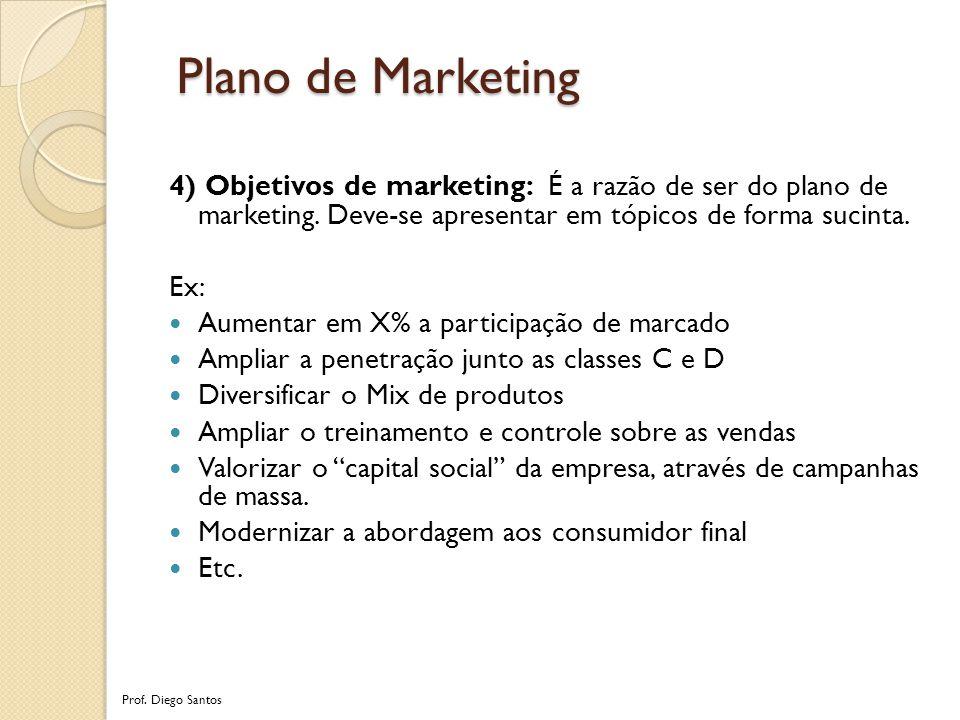4) Objetivos de marketing: É a razão de ser do plano de marketing.