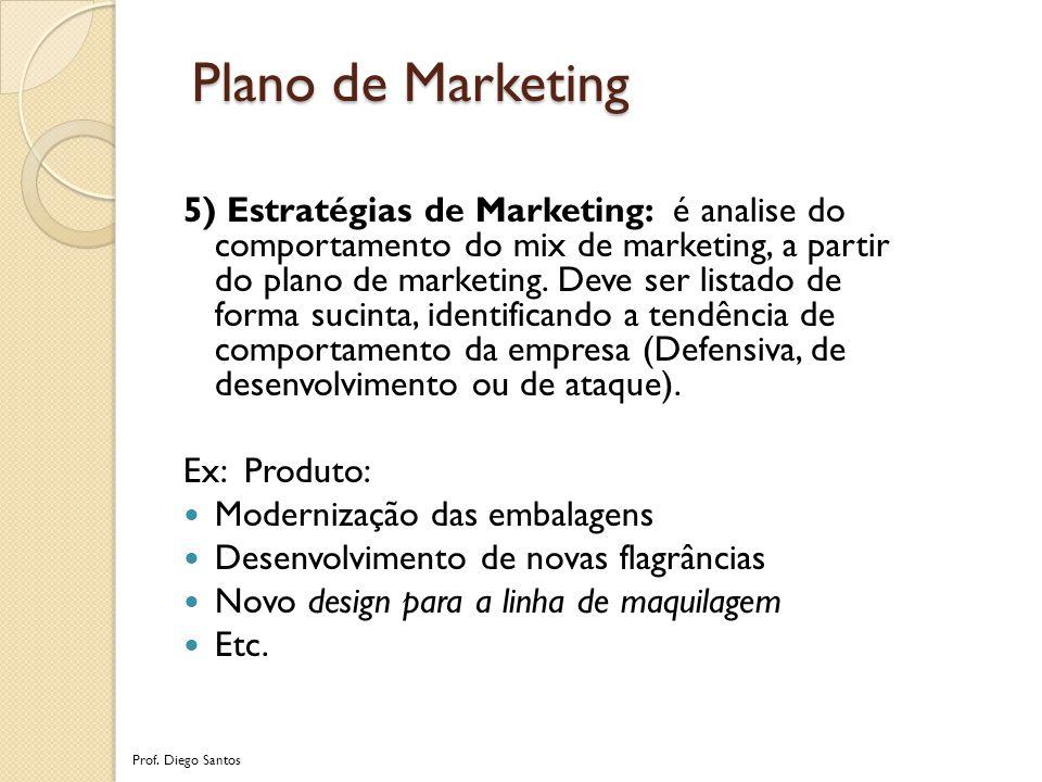 5) Estratégias de Marketing: é analise do comportamento do mix de marketing, a partir do plano de marketing.