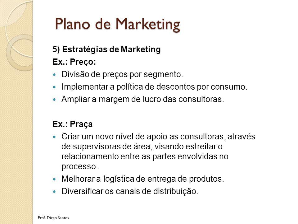 5) Estratégias de Marketing Ex.: Preço: Divisão de preços por segmento.