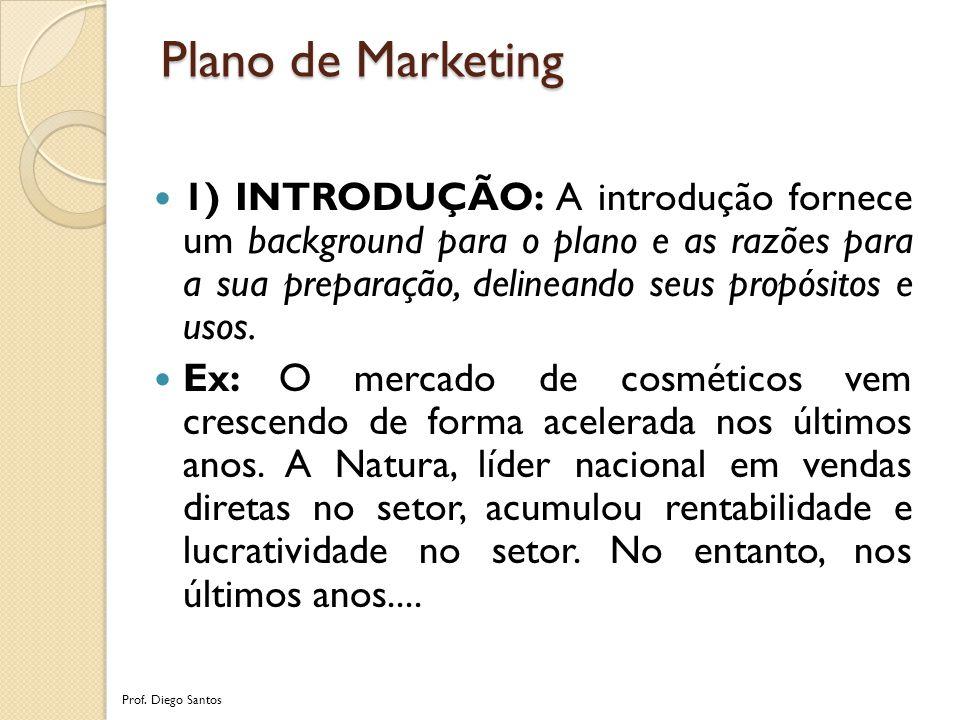 Plano de Marketing 1) INTRODUÇÃO: A introdução fornece um background para o plano e as razões para a sua preparação, delineando seus propósitos e usos.