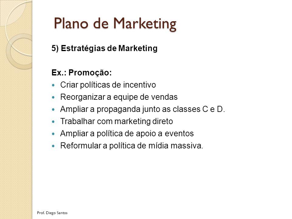 5) Estratégias de Marketing Ex.: Promoção: Criar políticas de incentivo Reorganizar a equipe de vendas Ampliar a propaganda junto as classes C e D.