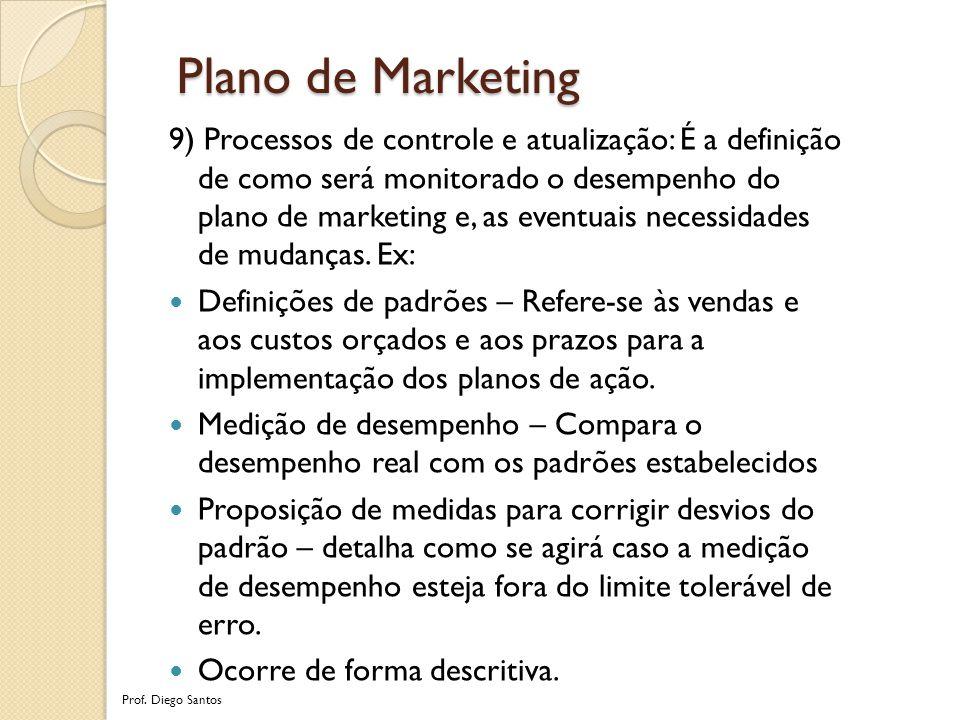 9) Processos de controle e atualização: É a definição de como será monitorado o desempenho do plano de marketing e, as eventuais necessidades de mudanças.