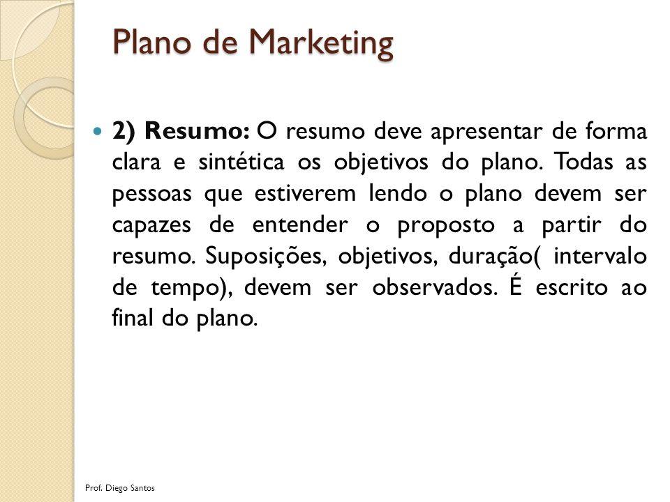 2) Resumo: O resumo deve apresentar de forma clara e sintética os objetivos do plano.
