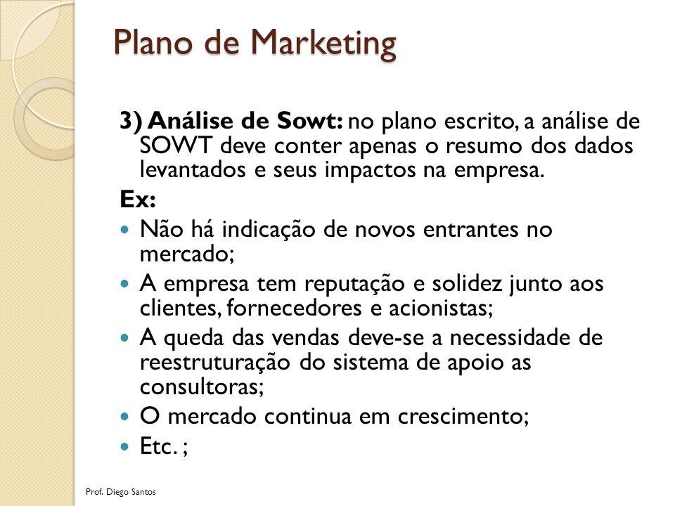 3) Análise de Sowt: no plano escrito, a análise de SOWT deve conter apenas o resumo dos dados levantados e seus impactos na empresa.