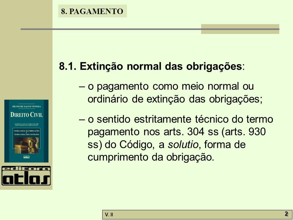 V. II 2 2 8. PAGAMENTO 8.1. Extinção normal das obrigações: – o pagamento como meio normal ou ordinário de extinção das obrigações; – o sentido estrit