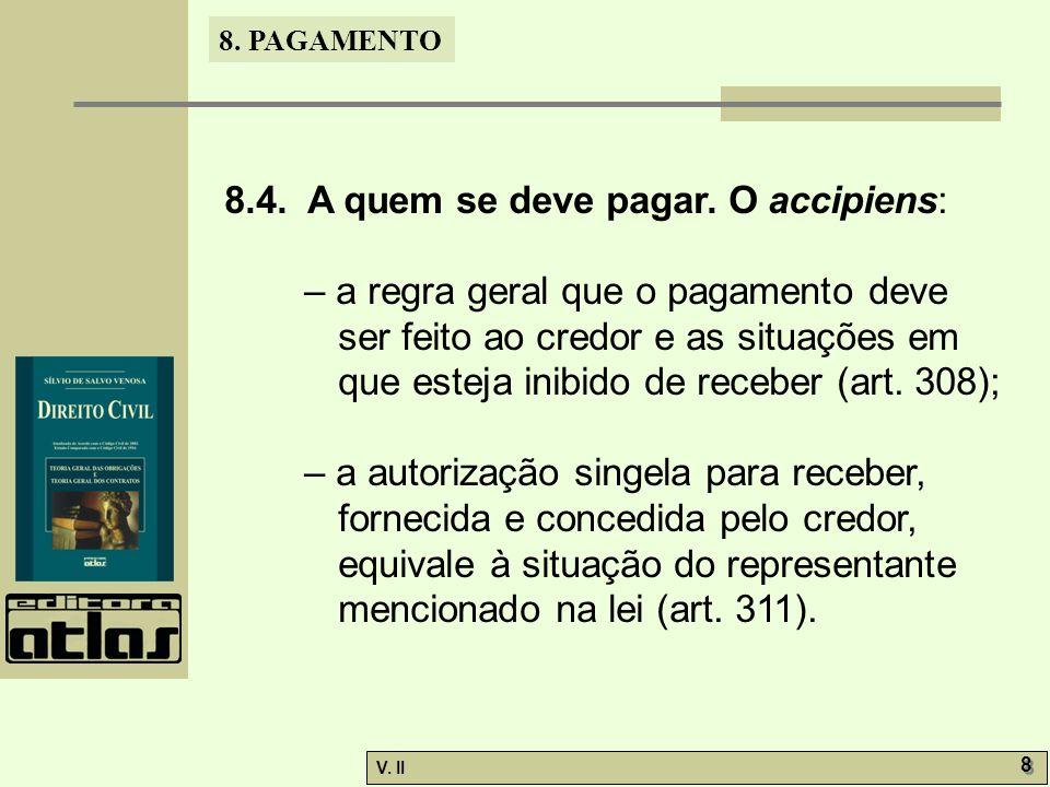 V. II 8 8 8. PAGAMENTO 8.4. A quem se deve pagar. O accipiens: – a regra geral que o pagamento deve ser feito ao credor e as situações em que esteja i