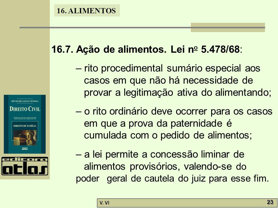 16. ALIMENTOS V. VI 23 16.7. Ação de alimentos. Lei n o 5.478/68: – rito procedimental sumário especial aos casos em que não há necessidade de provar