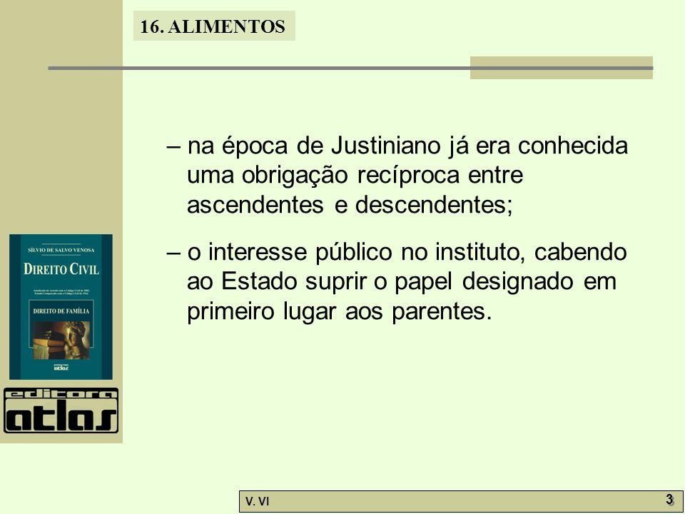 16. ALIMENTOS V. VI 3 3 – na época de Justiniano já era conhecida uma obrigação recíproca entre ascendentes e descendentes; – o interesse público no i