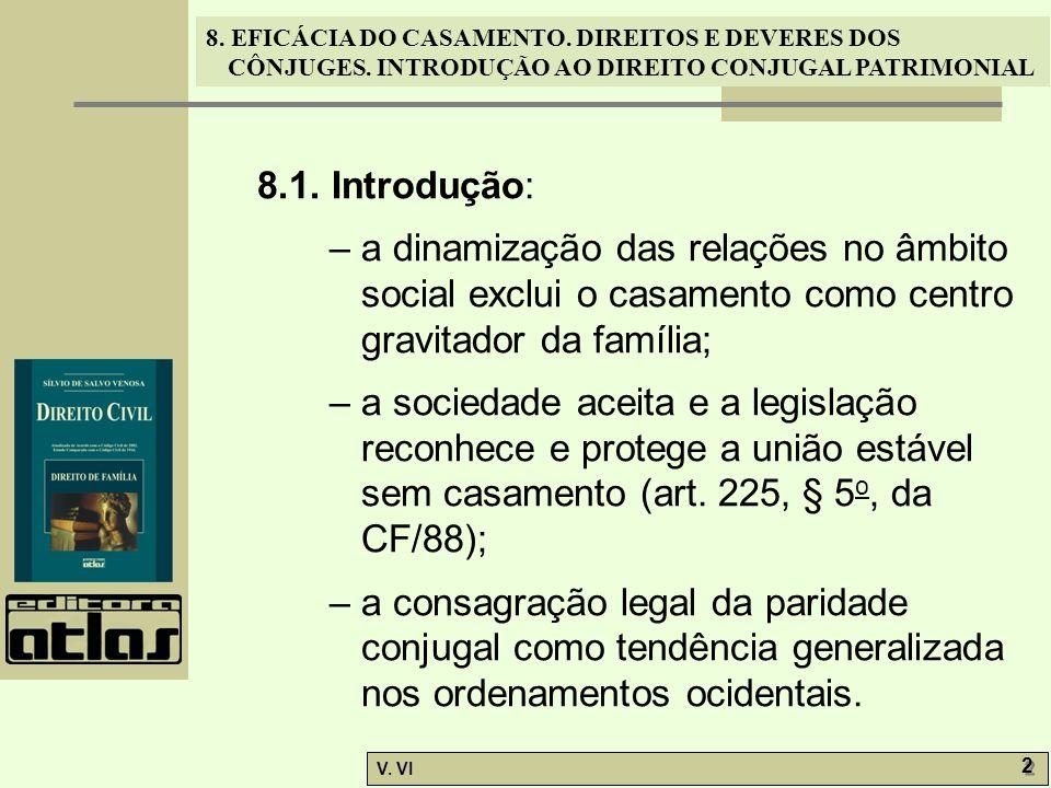 8. EFICÁCIA DO CASAMENTO. DIREITOS E DEVERES DOS CÔNJUGES. INTRODUÇÃO AO DIREITO CONJUGAL PATRIMONIAL V. VI 2 2 8.1. Introdução: – a dinamização das r