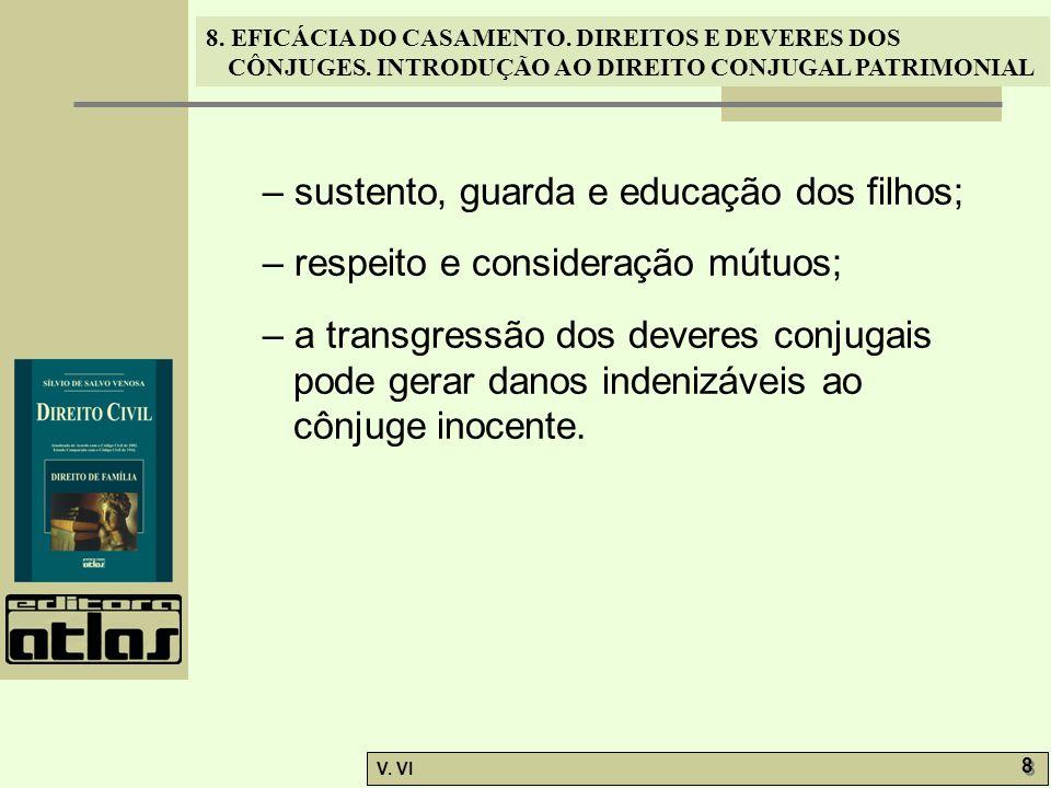 8. EFICÁCIA DO CASAMENTO. DIREITOS E DEVERES DOS CÔNJUGES. INTRODUÇÃO AO DIREITO CONJUGAL PATRIMONIAL V. VI 8 8 – sustento, guarda e educação dos filh