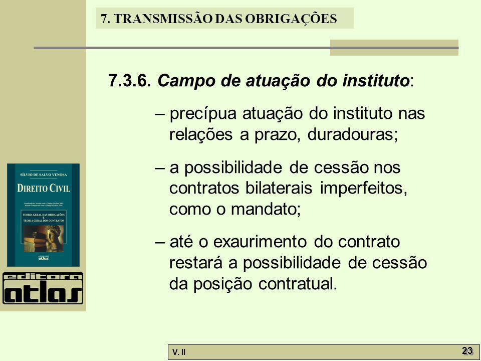 V. II 23 7. TRANSMISSÃO DAS OBRIGAÇÕES 7.3.6. Campo de atuação do instituto: – precípua atuação do instituto nas relações a prazo, duradouras; – a pos