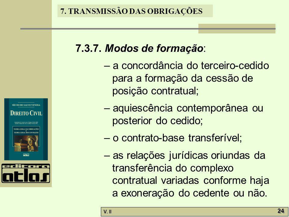 V. II 24 7. TRANSMISSÃO DAS OBRIGAÇÕES 7.3.7. Modos de formação: – a concordância do terceiro-cedido para a formação da cessão de posição contratual;