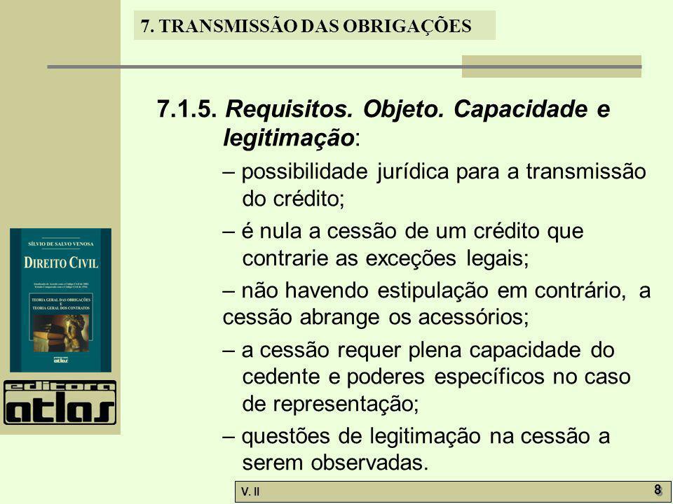V. II 8 8 7. TRANSMISSÃO DAS OBRIGAÇÕES 7.1.5. Requisitos. Objeto. Capacidade e legitimação: – possibilidade jurídica para a transmissão do crédito; –