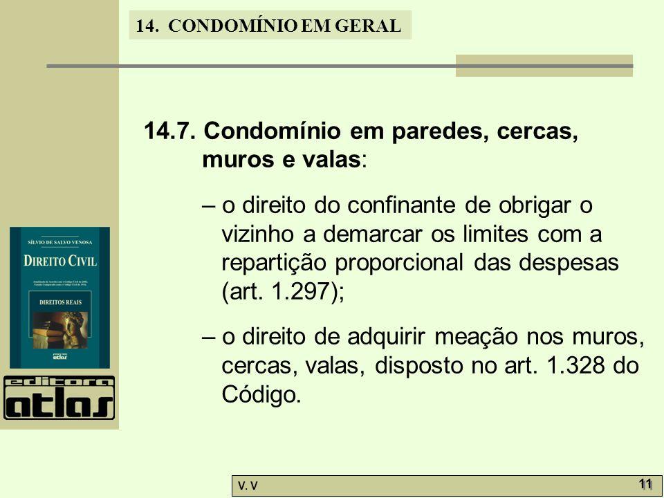 14. CONDOMÍNIO EM GERAL V. V 11 14.7. Condomínio em paredes, cercas, muros e valas: – o direito do confinante de obrigar o vizinho a demarcar os limit