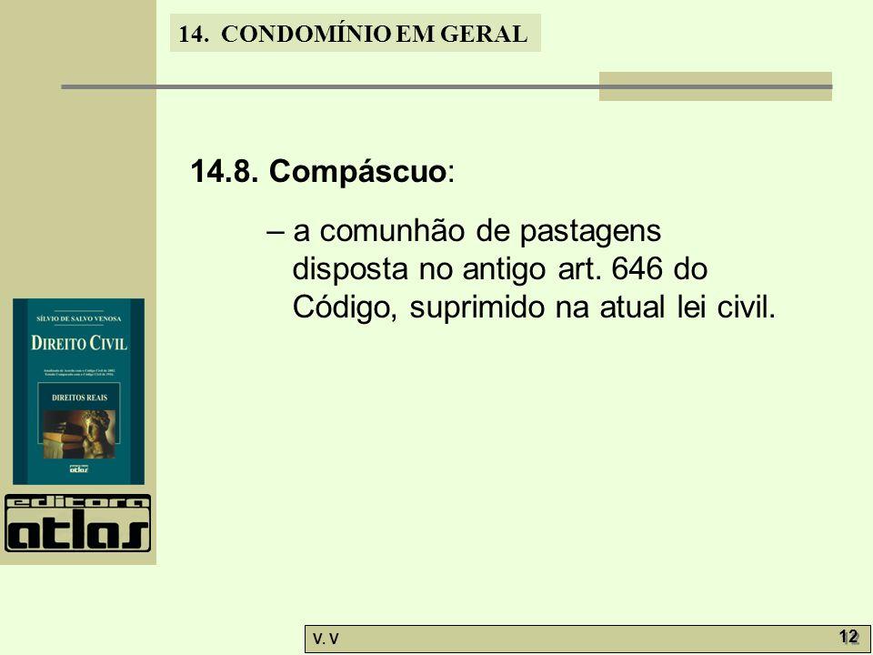 14. CONDOMÍNIO EM GERAL V. V 12 14.8. Compáscuo: – a comunhão de pastagens disposta no antigo art. 646 do Código, suprimido na atual lei civil.