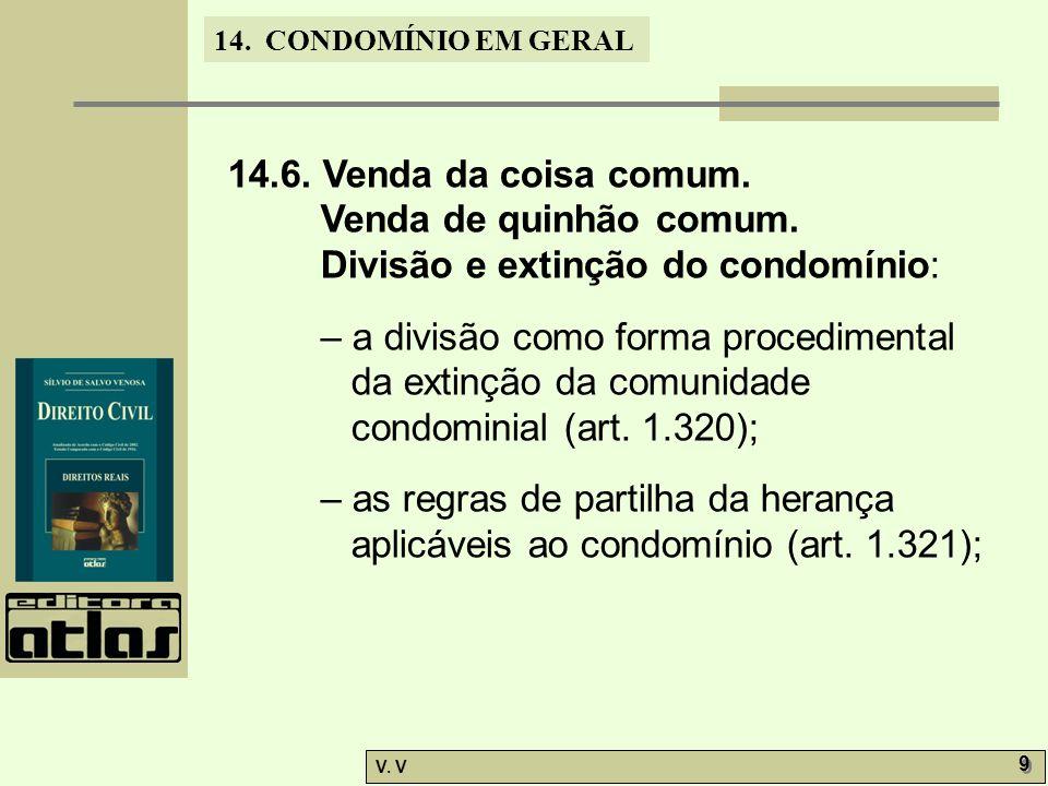 14. CONDOMÍNIO EM GERAL V. V 9 9 14.6. Venda da coisa comum. Venda de quinhão comum. Divisão e extinção do condomínio: – a divisão como forma procedim