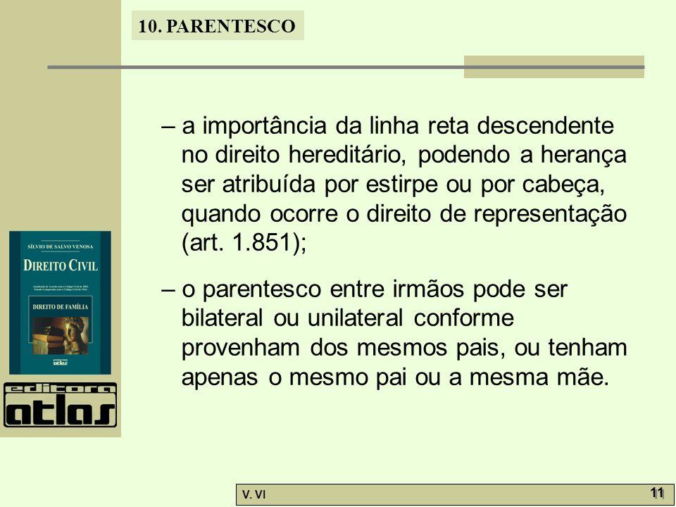 10. PARENTESCO V. VI 11 – a importância da linha reta descendente no direito hereditário, podendo a herança ser atribuída por estirpe ou por cabeça, q