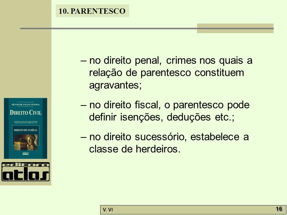 10. PARENTESCO V. VI 16 – no direito penal, crimes nos quais a relação de parentesco constituem agravantes; – no direito fiscal, o parentesco pode def