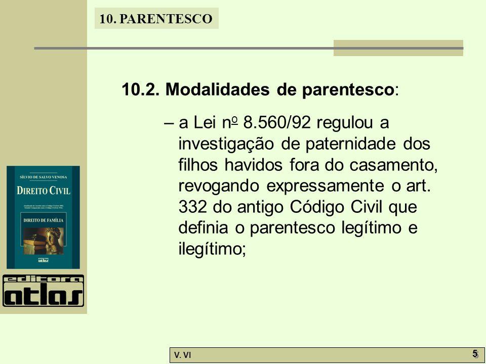 10. PARENTESCO V. VI 5 5 10.2. Modalidades de parentesco: – a Lei n o 8.560/92 regulou a investigação de paternidade dos filhos havidos fora do casame