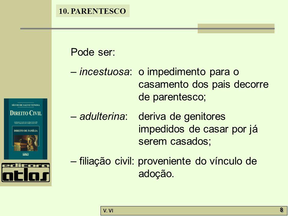 10. PARENTESCO V. VI 8 8 Pode ser: – incestuosa: o impedimento para o casamento dos pais decorre de parentesco; – adulterina: deriva de genitores impe