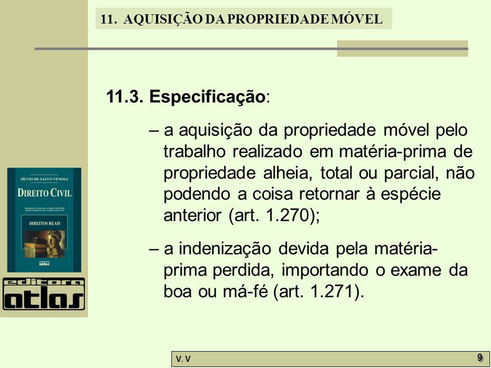 11. AQUISIÇÃO DA PROPRIEDADE MÓVEL V. V 9 9 11.3. Especificação: – a aquisição da propriedade móvel pelo trabalho realizado em matéria-prima de propri