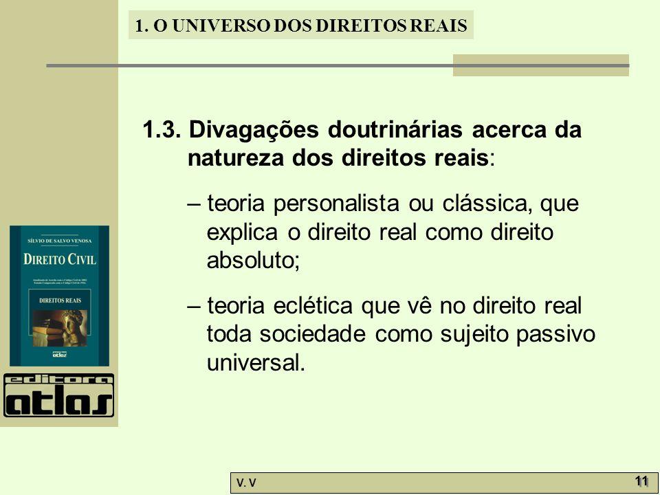 1. O UNIVERSO DOS DIREITOS REAIS V. V 11 1.3. Divagações doutrinárias acerca da natureza dos direitos reais: – teoria personalista ou clássica, que ex