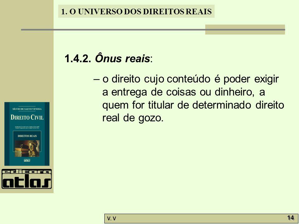 1. O UNIVERSO DOS DIREITOS REAIS V. V 14 1.4.2. Ônus reais: – o direito cujo conteúdo é poder exigir a entrega de coisas ou dinheiro, a quem for titul