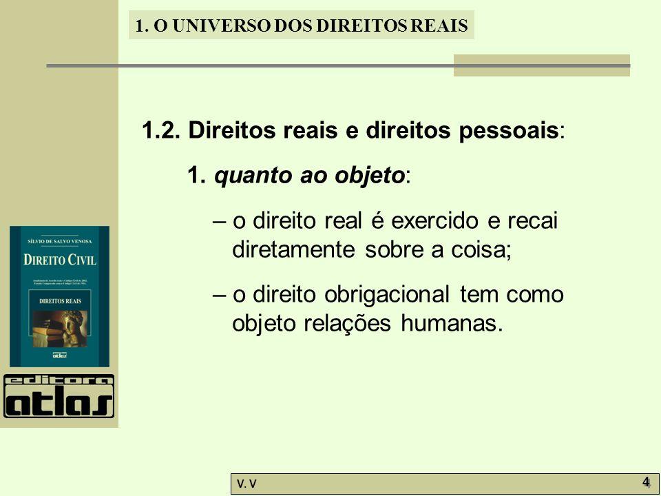 1.O UNIVERSO DOS DIREITOS REAIS V. V 5 5 1.2. Direitos reais e direitos pessoais: 2.