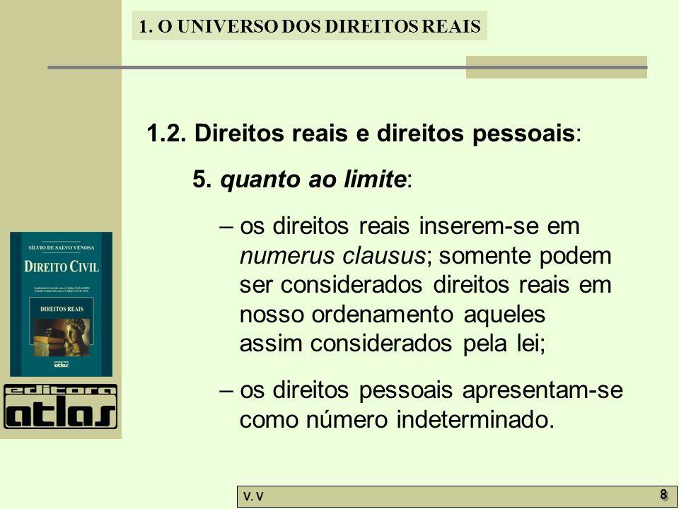 1. O UNIVERSO DOS DIREITOS REAIS V. V 8 8 1.2. Direitos reais e direitos pessoais: 5. quanto ao limite: – os direitos reais inserem-se em numerus clau