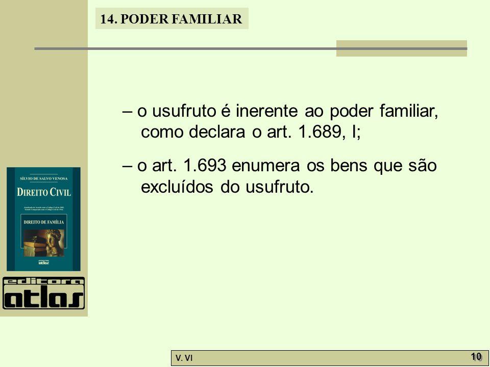 14.PODER FAMILIAR V. VI 10 – o usufruto é inerente ao poder familiar, como declara o art.