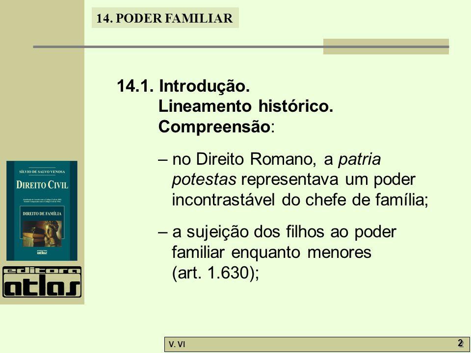 14.PODER FAMILIAR V. VI 2 2 14.1. Introdução. Lineamento histórico.