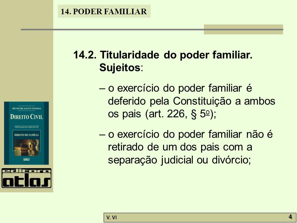 14.PODER FAMILIAR V. VI 4 4 14.2. Titularidade do poder familiar.