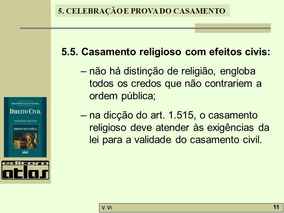 5. CELEBRAÇÃO E PROVA DO CASAMENTO V. VI 11 5.5. Casamento religioso com efeitos civis: – não há distinção de religião, engloba todos os credos que nã